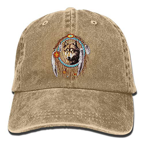 Cute Wolf Kostüm Mädchen - AOHOT Herren Damen Baseball Caps,Hüte, Mützen, Classic Baseball Cap, Wolf Dream Catcher Indian Denim Hat Adjustable Female Cute Baseball Hat
