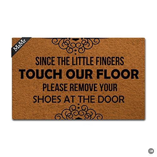msmr Fußmatte ENTRANCE Mat Funny Fußmatte Home Office Dekorative Gummi-Fußmatte 76,2x 45,7cm–Seit Little Finger Touch unsere Böden Bitte entfernen Sie Ihre Schuhe an der Tür (Bitte Entfernen Sie Schuhe Tür Matte)