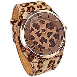 WoMaGe Damen Leopard Musterdruck Kunstleder Buegel Armbanduhr Dunkelbraun