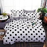 ED-Lumos 4 teilig Bettgarnitur Bettwäsche Set Bettbezug Betttuch Kopfkissenbezug Baumwolle Schwarze Punkte 180 cm x 220 cm