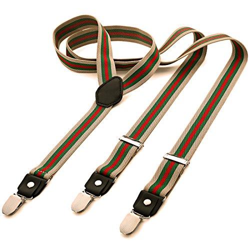 DonDon® Herren Hosenträger schmal 2,5 cm – 3 Clips in Y-Form – elastisch und längenverstellbar gestreift in beige grün rot