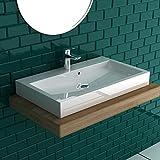 bad1a Alpenberger Aufsatz- oder Hängehandwaschbecken aus robustem Mineralguss 70 x 42 cm mit integriertem Überlaufschutz | Schlichtes Design | DIN Anschlüsse