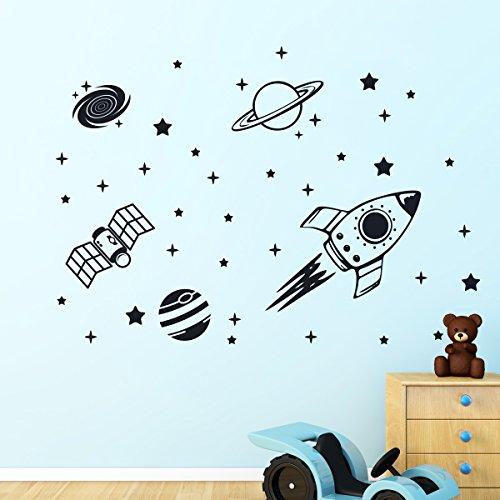 Rocket Outer Space Ship Vinyl Wandaufkleber Dekor Decal Mural Kinder Kinder Zimmer (Space Outer Dekor)