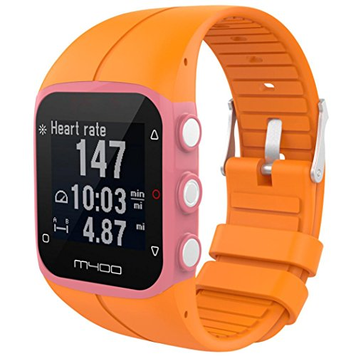 Price comparison product image For Polar M430 GPS Running Watch Bands,  Replacement Soft Silicone Rubber Band Wristband Strap For Polar A400 A430 Fitness watch,  Small Large Women Men (Orange)