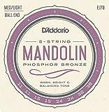 D\'Addario Cordes en bronze phosphoreux pour mandoline D\'Addario EJ70, extrémité à boule, Medium/Light, 11-38