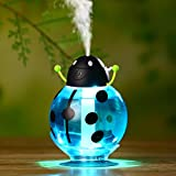 OULII Portátil 360 grados rotación escarabajo humidificador ultrasónico 260ML Mini USB aire ambientador purificador fabricante de la niebla para el coche de viaje hogar escuela para decoración del hogar y de uso diario (azul)