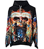 Michael Jackson Dangerous Hoodies Sweatshirt mit 3D Druck Tops Punk Hip Pop Lässig Dünnes Sweatshirt (S, MJ Hoodies)