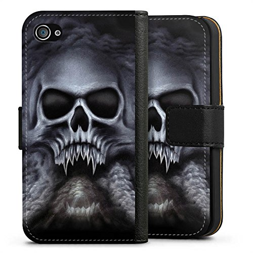 Apple iPhone 8 Plus Hülle Case Handyhülle Totenkopf Schädel Skull Sideflip Tasche schwarz