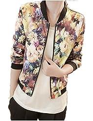 ZARU 1PC mujeres soporte chaqueta de cuello de manga larga con cremallera de la chaqueta de bombardero impreso floral Multicolor