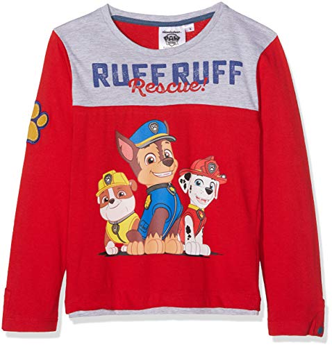 Nickelodeon paw patrol ruff, t-shirt bambino, (red 19-1763tc), 4 anni