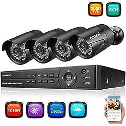 FLOUREON DVR Video Kit de vigilancia (8CH 1080N AHD HDMI DVR + 4 * 1080P 3000TVL 2.0MP cámara Exterior), Copia de Seguridad USB, Alarma por Correo electrónico, Sistema de Seguridad