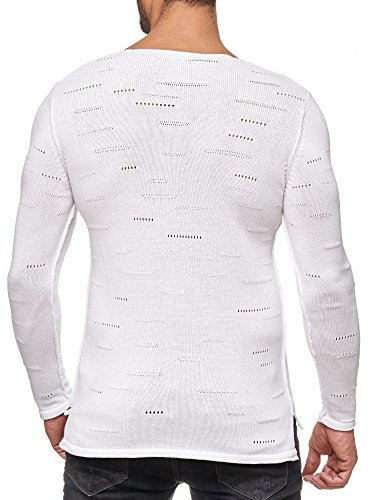 Red Bridge Herren Pullover Sweatshirt Langarmshirt Holy Bars Sweatshirt M3031 RBC Weiß