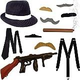 German Trendseller® - Mafia - Kostüm - Set - Deluxe ┃ 20er Jahre ┃ Gangster Hut + Zigarre + Hostenträger + Krawatte + 6 Bärte + Gun┃ 11 Teiliges Set