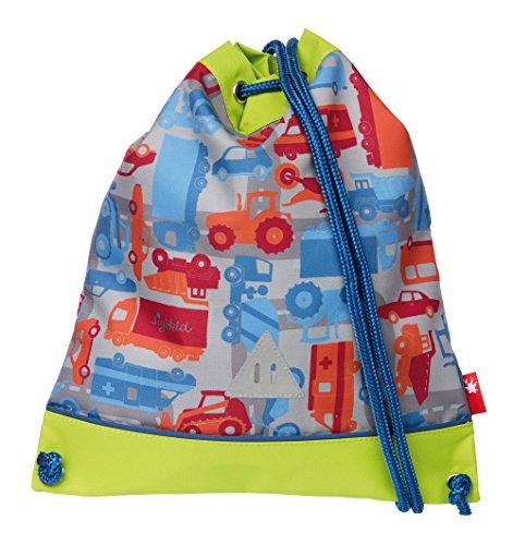 sigikid, Jungen, Turnbeutel Fahrzeuge, Traffic, Kinder-Rucksack, 37 cm, Blau, 24671