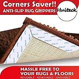 8 Pinzas Antideslizantes para alfombras y alfombras para Esquinas y Bordes, Agarre renovable para alfombras y Suelos de Madera, Seguro para Suelos de Madera, para Interiores y Exteriores