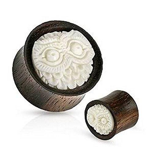 Piercing plug hibou en bois organique Taille 16 mm