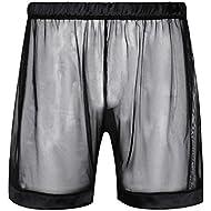 deddc0c443a0 YiZYiF Men's Mesh See Through Short Pants Loose Boxer.