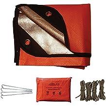 Nuevo para 2017–todas las estaciones de manta térmica de emergencia multiusos–viene con grandes aluminio reflectante Manta, cuatro clavijas de acero, cuatro longitudes de paracaídas y una bolsa de Ziplock resistente al agua, naranja