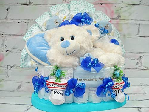 """Windeltorte"""" Schlafbär und Babyset"""",blau,Geburt,Taufe,Geburtstag"""