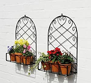 Nutech ImpexTM Iron Wall Bracket, Stand for Plants, Balcony, Garden, Home Decoration of Rack (Set of 2)