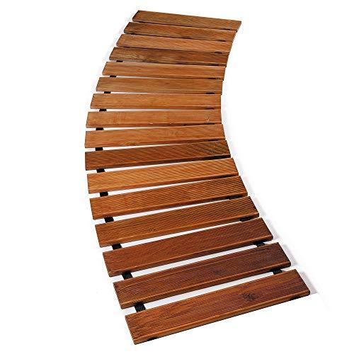 Floranica® Gartenweg (meterware) sicher und komfortabler Rollweg aus imprägniertem Lärchenholz Laufsteg Holzweg rollbarer Rasenweg - geriffelt, Farbe:braun, Größe:Menge = Länge in lfm/Breite 50 cm