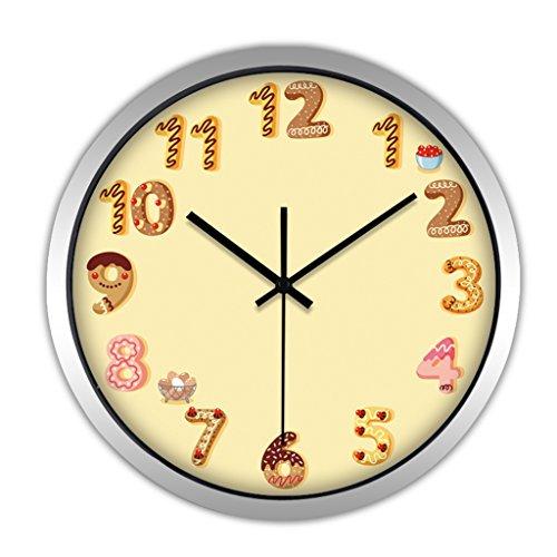 Horloges Montres Balayage Secondes Metallic Murale Quartz Quartz et muet Silencieux Convient pour Chambre à Coucher et Salon (Color : Yellow-B, Size : 35.5cm(14inch))