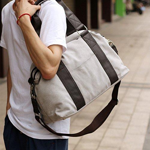 Zhhlaixing Large capacity Outdoor Travel Canvas Bag Fashion Mens Messenger Shoulder Bag Light Gray