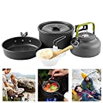 Buycitky Camping Cookware Kit,Camping Accessories Cooking,Lightweight & Nonstick Camping Kettle,Camping Pots,Camping Pans with Mesh Set Bag for Outdoor Activities,Picnic,Hiking,10-Piece Set 8
