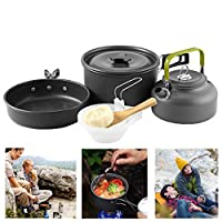 Buycitky Camping Cookware Kit,Camping Accessories Cooking,Lightweight & Nonstick Camping Kettle,Camping Pots,Camping Pans with Mesh Set Bag for Outdoor Activities,Picnic,Hiking,10-Piece Set 4