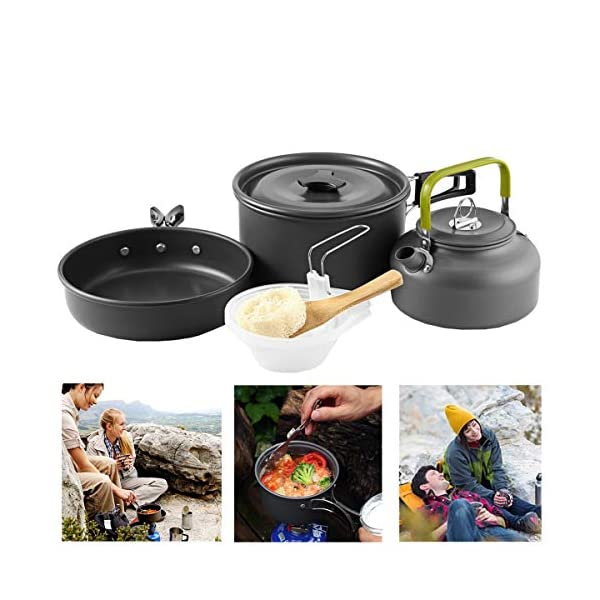 Buycitky Camping Cookware Kit,Camping Accessories Cooking,Lightweight & Nonstick Camping Kettle,Camping Pots,Camping Pans with Mesh Set Bag for Outdoor Activities,Picnic,Hiking,10-Piece Set 1