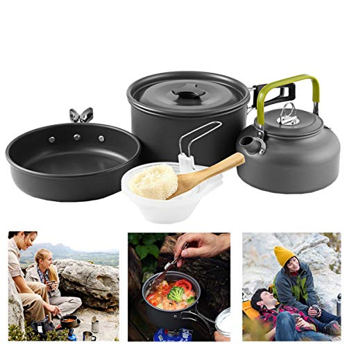 Buycitky Camping Cookware Kit,Camping Accessories Cooking,Lightweight & Nonstick Camping Kettle,Camping Pots,Camping Pans with Mesh Set Bag for Outdoor Activities,Picnic,Hiking,10-Piece Set