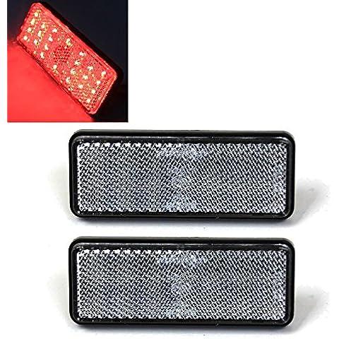T Tocas - Juego de 2 indicadores de frenado rectangulares con 24 luces led y lente transparente para motocicletas
