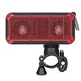 Zinsoko Z-S01 Bluetooth Inalámbrico Altavoz para Exterior Bicicleta (Impermeable IP66, NFC, Sonido HiFi, Recargable 1000mAh, Linterna LED, Compatible con Smartphone Tablet PC) (Rojo)