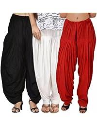 Kurti Studio Women Black White Red Premium Patiala Salwar Combo of 3