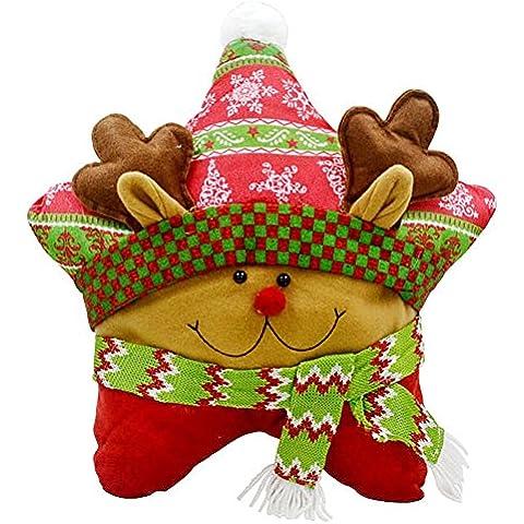 Highdas decorazioni natalizie panno regalo di Natale Stella a Cinque Punte divano cuscino cuscini bambini stile cervi di Natale