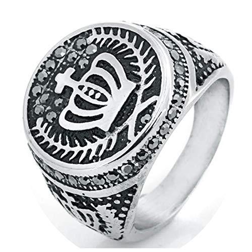SonMo Edelstahl Herren Ring Ring Herren Krone Edelstahlring Mit Zirkonia Silber Größ: 57 (18.1)