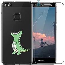 Huawei P10Lite Funda con Protector de pantalla de cristal templado, blossom01Ultra Thin Soft Gel TPU Silicona Funda con carcasa para Huawei P10Lite multicolor Green Crocodile Huawei P10 Lite
