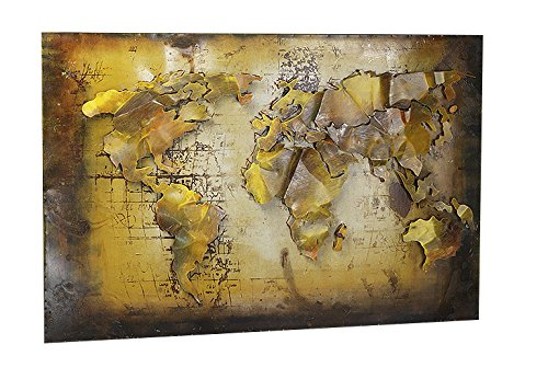 Kobolo Metall-Wandbild 3D-Optik Weltkarte 108x72 cm (Metall-globus, Kunst)