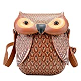 AiSi Damen Mädchen 3D Eule Design Leder süße Umhängetasche Damenhandtasche Handtasche Tasche Clutch Ledertasche Braun