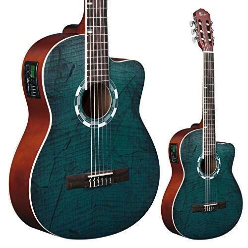 Lindo Standardgröße Elektro-Akustische Konzertgitarre/ Klassikgitarre (im natürlichem Hochglanz) mit Gitarrentasche LDG-960CEQ - Elektro Nylon-gitarre Akustische