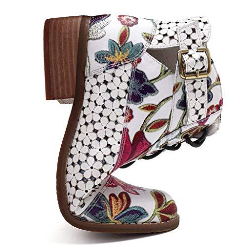 Botas Retro de Mujer Bohemia Botines de Cuero Impresión Botas de Moto Vintage Zapatos con Cordones...