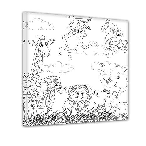 Oferta de introducción: Bilderdepot24 - Animales de la selva - Colorear foto en lienzo, estiró sobre marco - Formato cuadrado - 40x40 cm - listo tensa, directamente desde el
