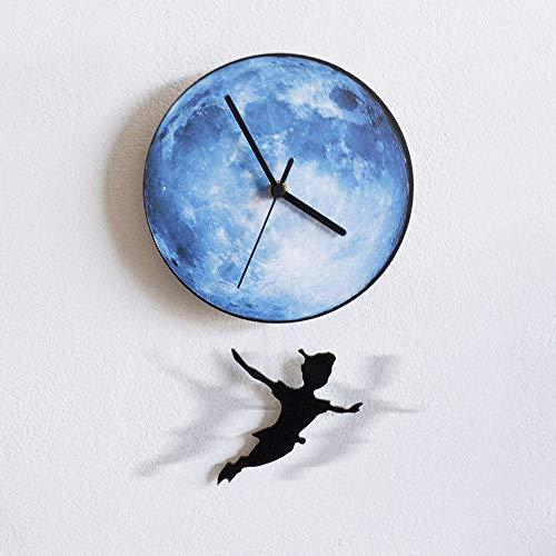 IBalody 12in Halloween Kreative Mond Peter Pan Dynamische Schaukel Wanduhr Wohnzimmer Schlafzimmer Kinderzimmer Stumm Taschenuhr Quarzuhr Restaurant Bar Home Business Dekoration (Color : Blue)