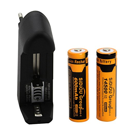 Sidiou Group - 2 batterie agli ioni di litio 14500 da 600 mAh, 3,7 V, compreso caricatore da 3,7 V 500 mAh