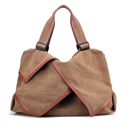 UGOOO Damen Bag Schultertaschen Mutil Function Bag Crossbody Bag Tote Handtaschen (Braun) (Canvas Braun Tote Bag)