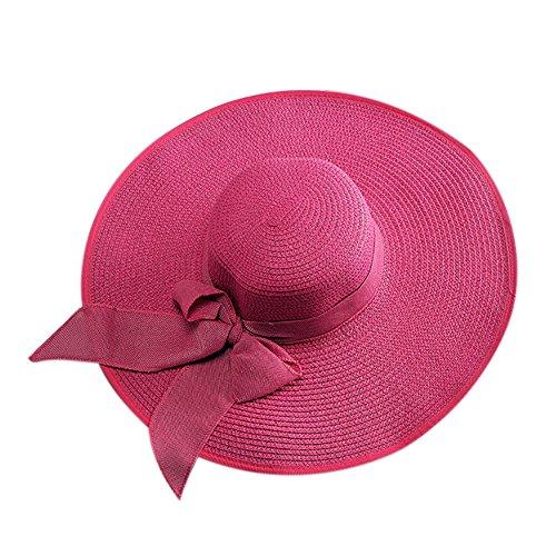 iShine Sonnenhüte Damen Mädchen UV-Schutz Kappe Sandstrand Strandhut Atmungsaktiv mit Groß Krempe Strohhut Die übertragbarkeit Faltbarer Band Knoten Schmetterling Anhänger Reisen Pink