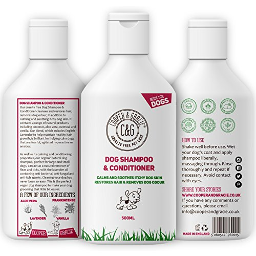 Cooper And Gracie C&G Cruelty free Pet Care Dog Shampoo for Smelly Dogs and Itchy Sensitive Skin – Medicated Conditioner Puppy Safe – 500ml