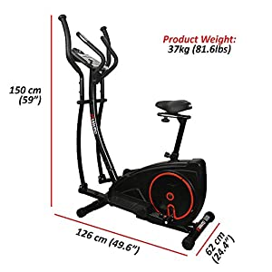 Viavito Setry 2-in-1 Elliptical Trainer and Exercise Bike - Black/Red from Viavito