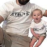 Upxiang Mama/Papa & Sohn/Tochter Ctrl + C Gedruckt Ctrl + V Gedruckt Kurzarm T-Shirt Top Familie Matching Kleidung Schöne Familie Outfit (Weiß/Erwachsene, XXL)