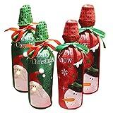 AIYUE® 4pcs Wein Flaschen-Dekoration Weihnachtsmann Schneemann Flaschentüte Geschenktüte für Wein Weihnachtsdeko Heiligabend Weihnachten Geschirr Flasche Sets